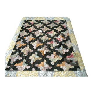 20th Century Hand Made, Hand Pieced, Tied Long Drunkard's Path Quilt For Sale