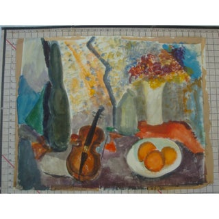 Midcentury Modern Abstract Still Life Watercolor Painting With Violin, Fruit and Flowers Preview
