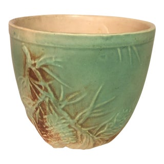 Vintage Ceramic Cachepot with Pinecone Relief Design For Sale