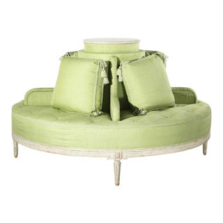 Louis XVI Style Painted & Upholstered Round Settee For Sale