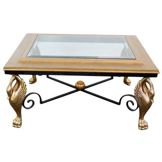 French Empire Style Gold Metal Swans Coffee Table