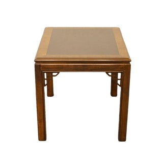 Late 20th Century Vintage Drexel Chippendale Collection Banded Mahogany End Table