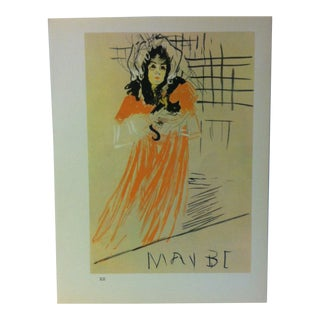 """Circa 1980 """"Study for the May Belfort Poster 1895"""" Color Print of a Toulouse-Lautrec Drawing For Sale"""