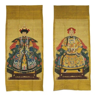 Chinese Pair Canvas Golden Yellow Color Ink King Queen Painting Art For Sale