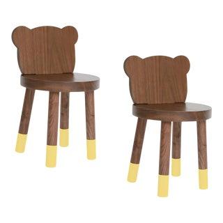 Nico & Yeye Baba Kids Chair Solid Walnut Yellow - Set of 2 For Sale