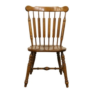 Late 20th Century Vintage Temple Stuart Solid Hard Rock Maple Colonial Cattail Dining Side Chair For Sale