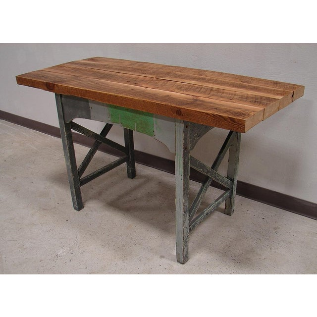 Reclaimed Heart Pine Small Harvest Table or Desk - Image 2 of 4