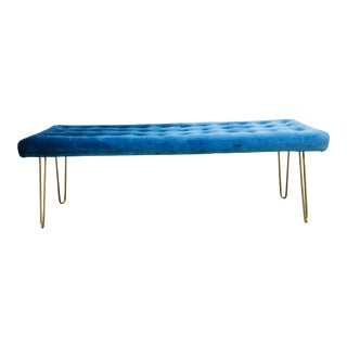 1960s Modern Tufted Blue Velvet Bench
