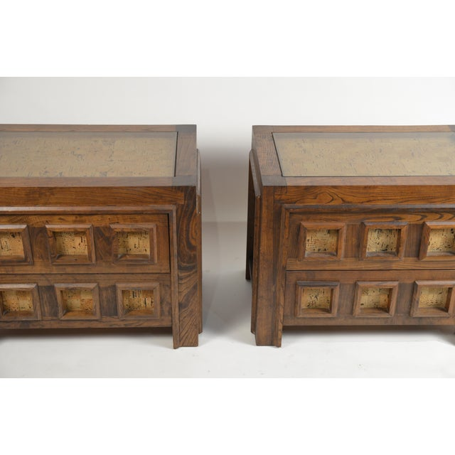 Brutalist Brutalist Stained Oak and Cork Nightstands - a Pair For Sale - Image 3 of 8