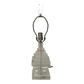 Karl Springer Style Stacked Small Scale Clear Lucite Table Lamp For Sale