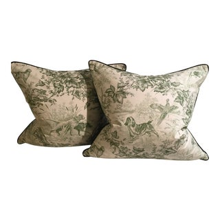 Ralph Lerann Green & Cream Hunting Scene Pillows - A Pair