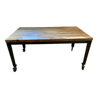 Industrial Reclaimed Wood and Metal Table With Castors For Sale