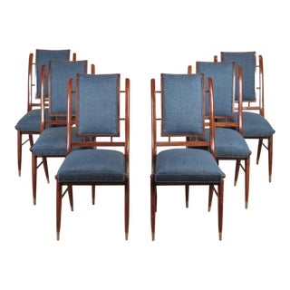 1960s Mid-Century Modern Italian Curved Back Dining Chairs - Set of 6 For Sale