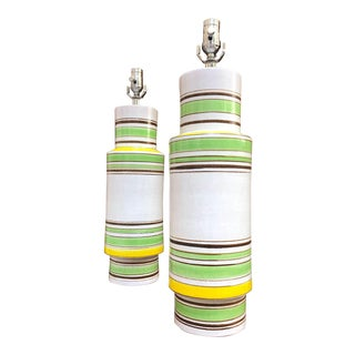 1950s Green Stripe Aldo Londi Bitossi Lamps - a Pair For Sale