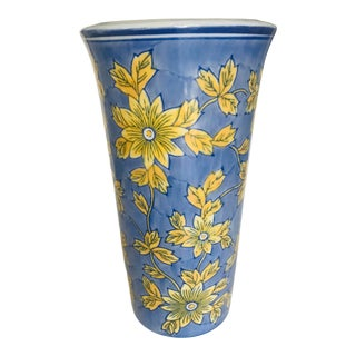Vintage Chinoiserie Blue Vase With Yellow Flowers For Sale
