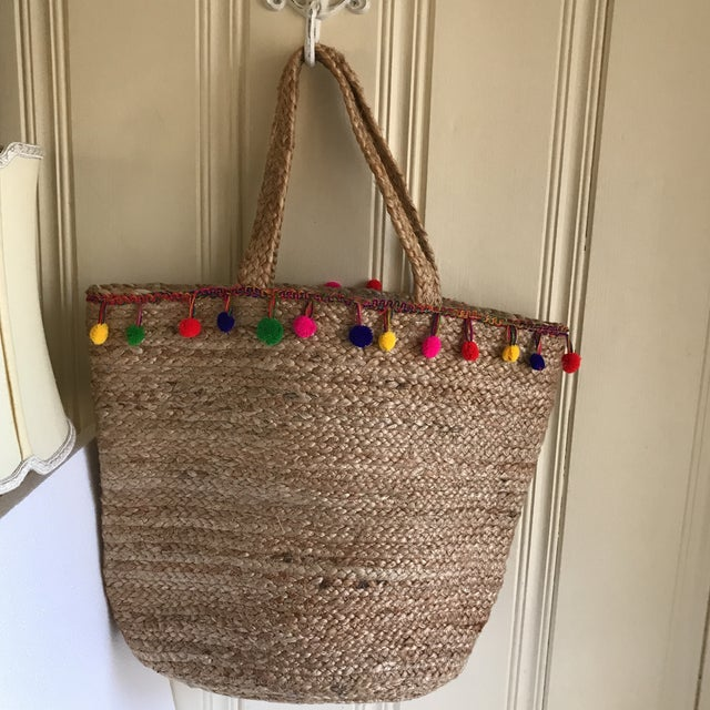 Boho Jute Large Basket Tote For Sale - Image 10 of 12