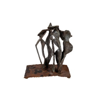 Abstract Brutalist Metal Sculpture For Sale