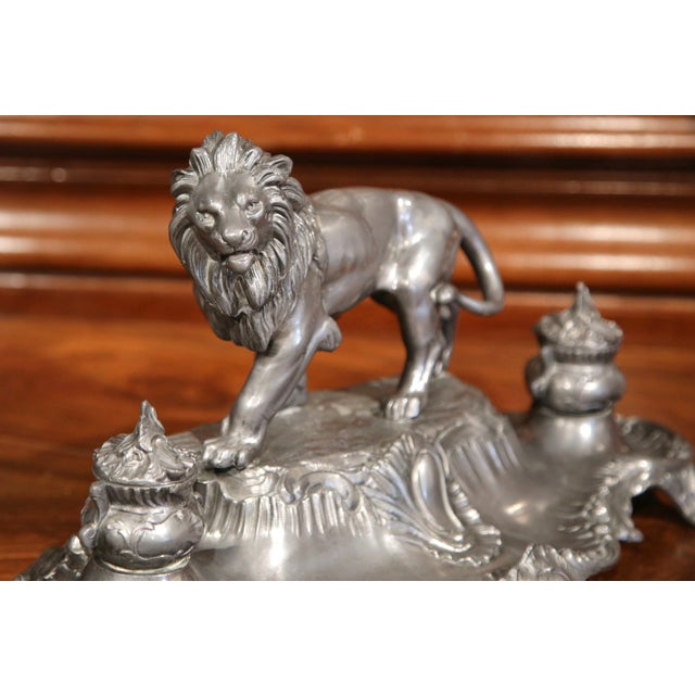This beautiful, antique inkwell was created in France, circa 1880. The desk accessory is made of pewter and sits on four...