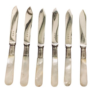 19th Century Mother of Pearl & Silver Fruit Knife Set in Box - Set of 6 For Sale