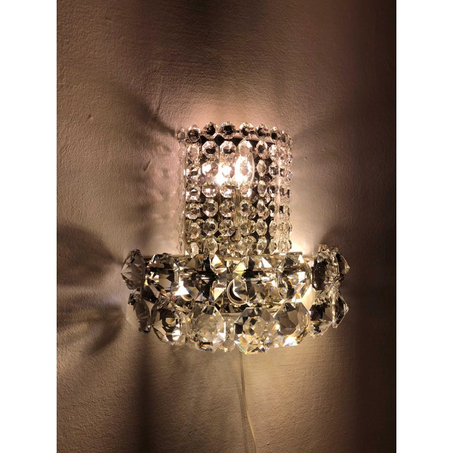 Pair of Large Crystal Sconces by Bakalowits and Sohne For Sale - Image 6 of 13