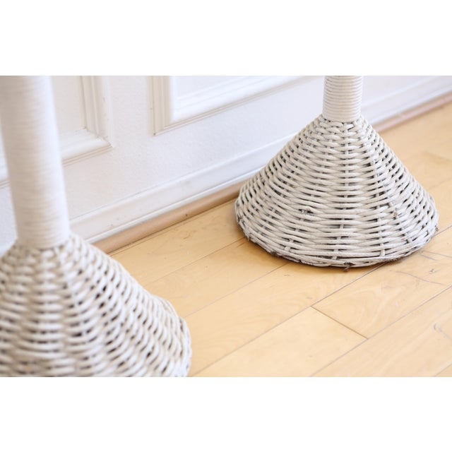 Wicker Vintage White Wicker Basket Planter Stands - A Pair For Sale - Image 7 of 8