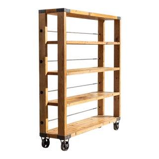 Vintage Industrial Reclaimed Wood Shelving Unit For Sale