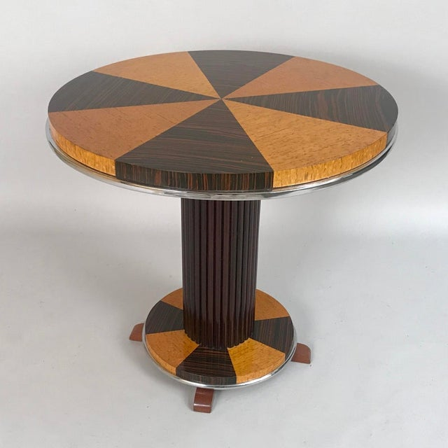 1930s Art Deco Macassar and Tiger Maple Side Table For Sale In Chicago - Image 6 of 9