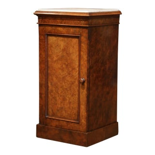 19th Century French Louis Philippe Burl Bedside Table With Marble Top For Sale