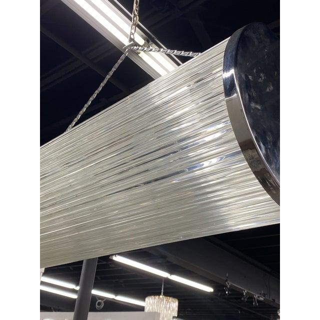 Metal Enormous Heavy 1960's Art Deco Glass Chrome Ceiling Light Fixture Glass Rod For Sale - Image 7 of 9