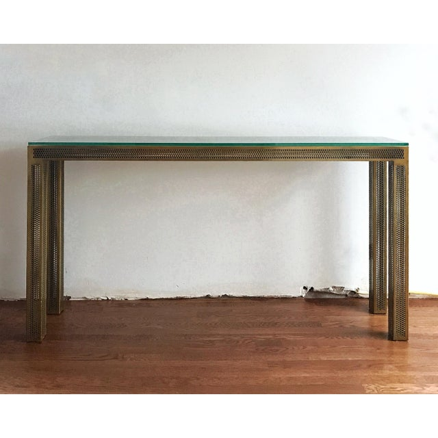 Industrial Cb2 Perforated Metal Glass Console Table