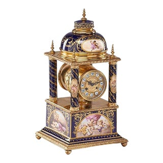 Vienna Porcelain Mantle Clock For Sale