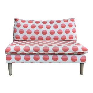 Land of Nod Margot Flamingo Polka Dot Settee For Sale