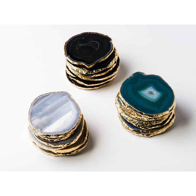 Set of Eight Semi-Precious Gemstone Coasters Grey Agate Wrapped in 24-Karat Gold For Sale In New York - Image 6 of 11