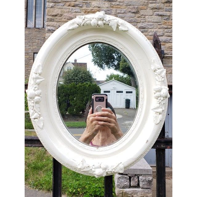 Antique Shabby Chic Style Carved Wood Mirror For Sale - Image 12 of 12
