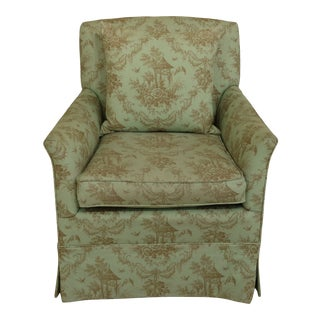 Chinoiserie Print Diminutive Scale Upholstered Club Chair For Sale