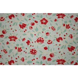 French Fabric Vintage Floral Blue Ground Red And White Flowers Material Circa 1950s Two Pieces For Sale