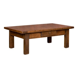 Antique Oak Coffee Table With Drawer For Sale
