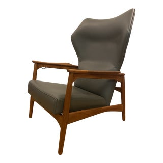 Ib-Kofod Larsen Wingback Reclining Lounge Chair For Sale