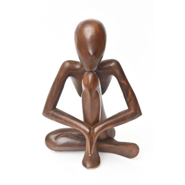 Vintage Mid-Century Modern Wood Seated Figure Sculpture For Sale - Image 11 of 11