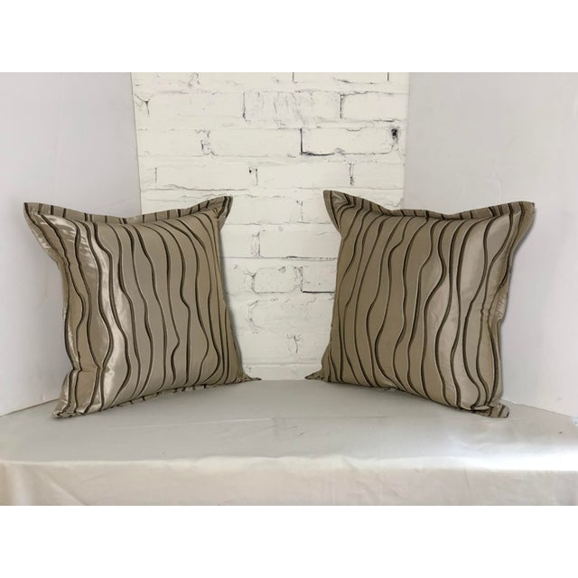 "Brown Pair of 20"" Square Jim Thompson Pillows For Sale - Image 8 of 13"