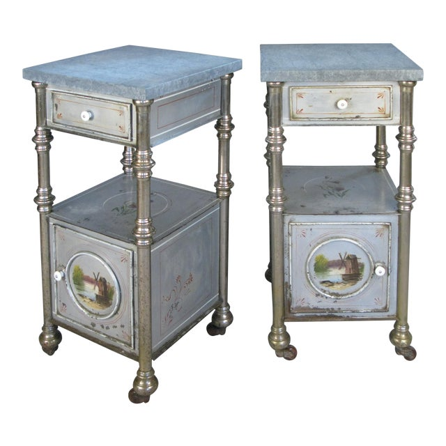 19th Century Painted Steel Nightstands - a Pair For Sale