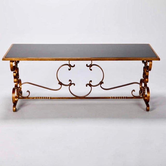 Glass Italian Gilt Iron & Black Glass Cocktail or Coffee Table For Sale - Image 7 of 8