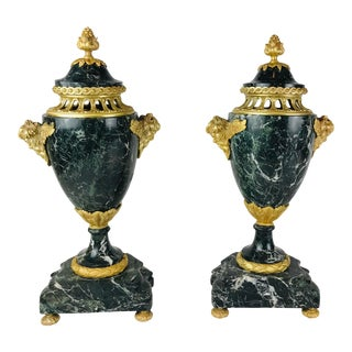 Vintage French Baroque Style Gilded Bronze With Green Marble Urn Garniture - a Pair For Sale