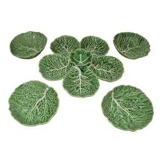 Portuguese Majolica by Bordallo Pinheiro Cabbage Leaf Serving Set - 5 Pc. Set For Sale