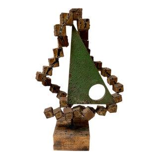 Vintage Brutalist Sailboat Metal Sculpture by Frank Cota For Sale