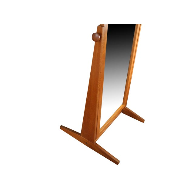 Vintage Danish Modern Teak Full Length Floor Mirror by Pedersen & Hansen For Sale - Image 10 of 13