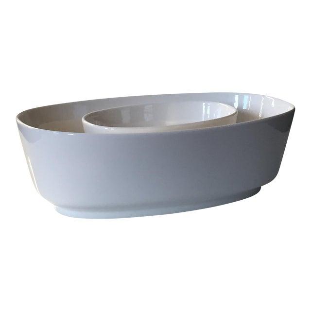Villeroy & Boch Affinity White Premium Porcelain Oval Salad Bowl - A Pair For Sale