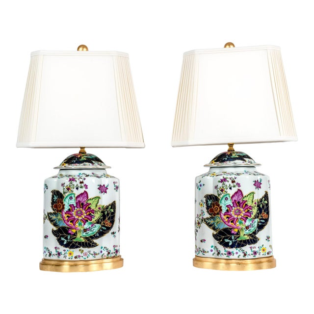 Late 20th Century French Porcelain Lamps With Wood Base - a Pair For Sale