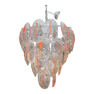 1970s Italian Glass Chandelier For Sale