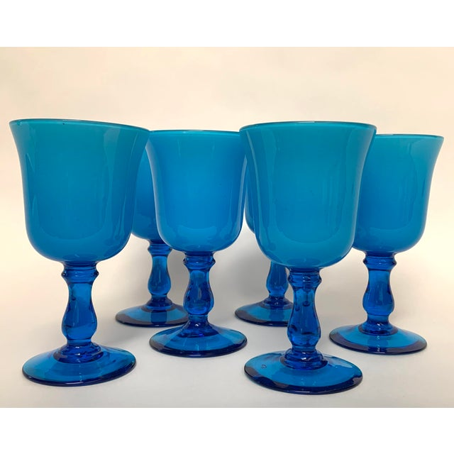 Italian Final Markdown Mid-Century Modern Carlo Moretti Style Cased Glass Goblets - Set of 6 For Sale - Image 3 of 12
